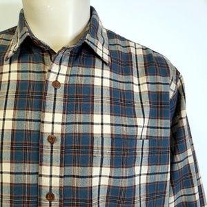vtg 90s LL BEAN Cotton Plaid Button Shirt Grunge